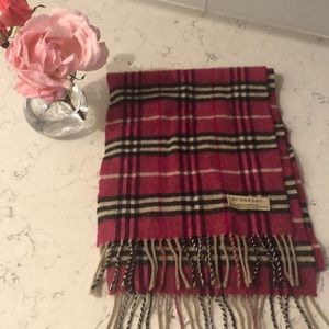 Burberry pink plaid wool scarf